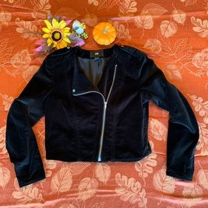 H&M Moto brushed black velvet crop zip Jacket